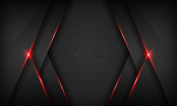 Black abstract overlap background. Texture with red metallic effect. Modern technology design template.