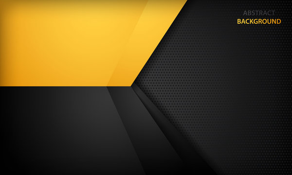 Black and yellow overlap background. Texture with dark metal pattern. Modern overlap dimension vector design.