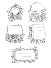 ink doodle black and white illustration sticker pack abstract
