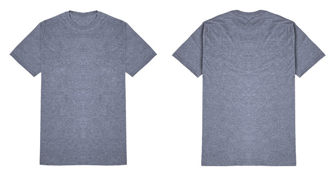 Heather grey t shirt front and back view flat lay concept, isolated on white background