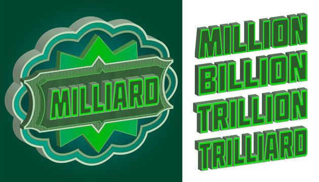 3D green pattern with the inscriptions billion, million, trillion and trilliard