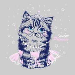Cute sweet princess hand drawn cat kitten n  tiara & fluffy skirt vector illustration