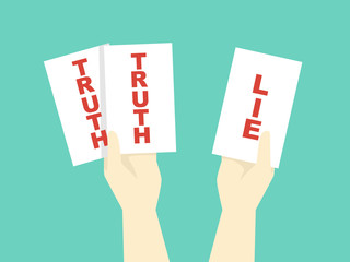 Hands Two Truths And Lie Game Illustration