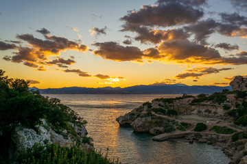 Ancient place Hraion Paradise Beach at sunset - Greece