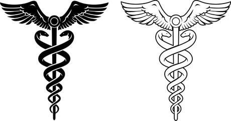 Medical Caduceus Symbol in Different Variation