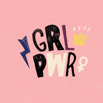 Girl power lettering hand drawn design. Feminism and body positivity movement vector illustration in cartoon style