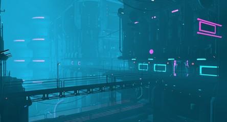 Fotomurales - Futuristic city in a blue haze. Neon cyberpunk future. 3D illustration. Night scene with multicolored neon lighting. Dark industrial landscape.
