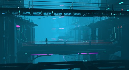 Fotomurales - Neon cyberpunk future. Futuristic city in a blue haze. 3D illustration. Night scene with multicolored neon lighting. Dark industrial landscape. Bridges bitween a huge futuristic buildings.