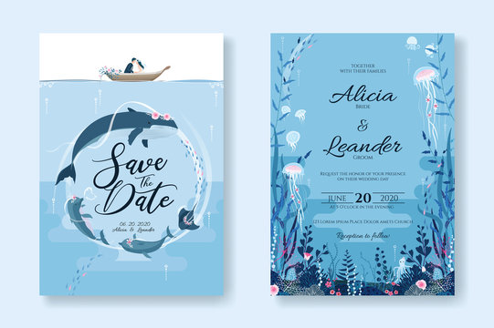 Set of wedding cards, Invitation, save the date template. Sealife, Under the sea image. Vector.
