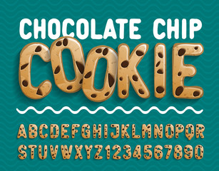 Chocolate Chip Cookie alphabet font. Cartoon cookie letters and numbers. Stock vector illustration for your typography design.