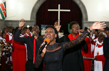 A faithful leads in a hymn during a special service at the Anglican Church of Kenya St. Stephen's Cathedral along Jogoo road in Nairobi