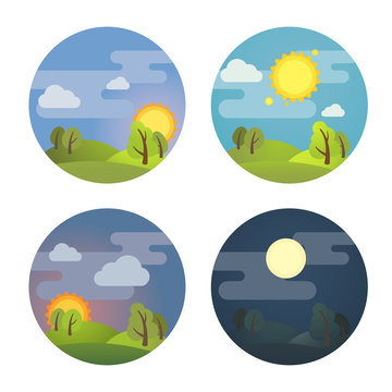 Set of round four times of day icons: morning, day, evening, night. Stock vector illustration. Isolated on white background.