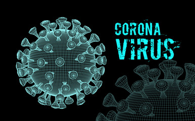 Coronavirus 2019-nCoV virus. Vector 3d illustration on black