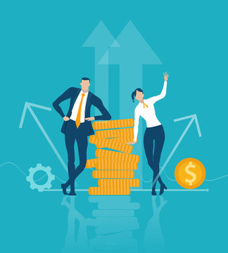 Business people staying next to the money hip, demonstrating success and good investment. Economy  and banking  concept illustration