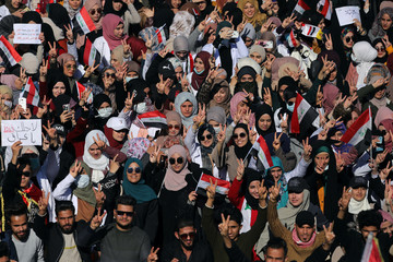 University students flash the victory sign, during ongoing anti-government protests in Kerbala