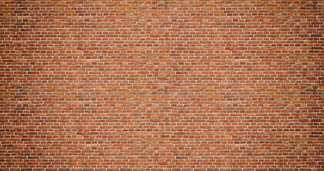 Poster Brick wall Brick wall. Old vintage brick wall pattern. Red brick wall panoramic background.
