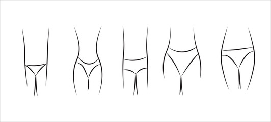 Features of a female figure and selection of underpants