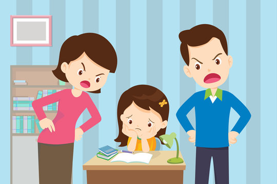 Angry mother and father to daughter so bad education