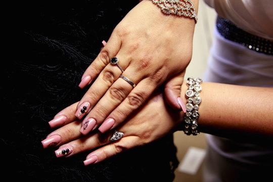 Cropped Image Of Woman Hands On Black Velvet
