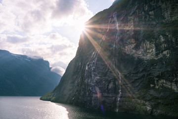 Sunset in the Geirangerfjord, Norway