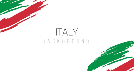 Italy flag brush style background with stripes. Stock vector illustration isolated on white background. Fotomurales