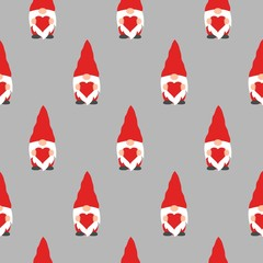 cute valentines gnomes and hearts in a valentines day seamless pattern