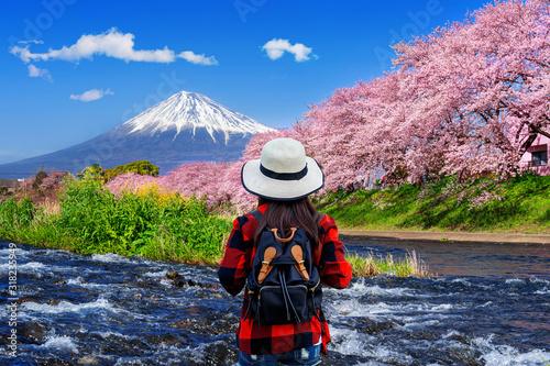 Wall mural Tourist looking at cherry blossoms and fuji mountains in Shizuoka, Japan.