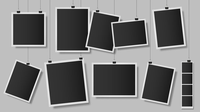 Photos on clips. Photo frame on wall, vintage empty photograph template, hanging scrapbook album snapshot. Retro photo memories isolated vector illustration. memory vintage images