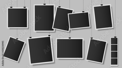 Wall mural Photos on clips. Photo frame on wall, vintage empty photograph template, hanging scrapbook album snapshot. Retro photo memories isolated vector illustration. memory vintage images