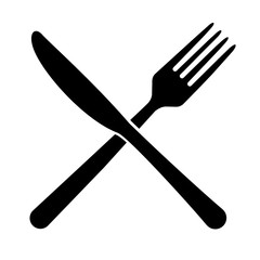 Fork and knife icon isolated on white background. Trendy tool design style