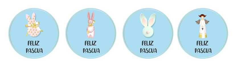 Round easter badges. Collection of greeting cards. Angel and bunny rabbit. Translation from Spanish: Happy Easter..
