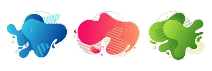 Set of abstract liquid shape graphic elements. Colorful gradient fluid design. Template for presentation, logo, banner. Illustration. Fotobehang