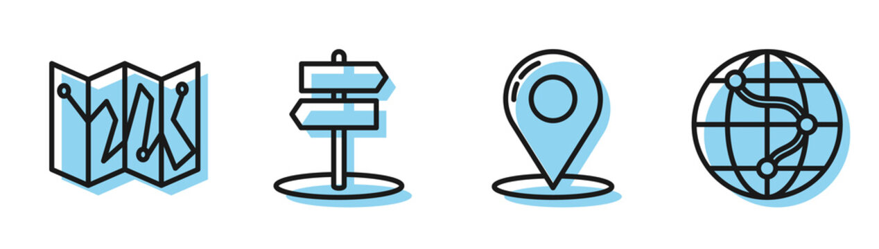 Set line Map pin, Folded map with location marker, Road traffic sign and Location on the globe icon. Vector