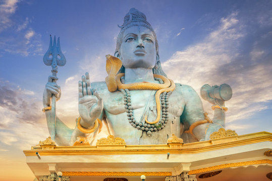 Lord Shiva at Murdeshwar Temple, Karnataka, India. Second-tallest Lord Shiva Statue. Holy places of the Hindus