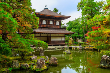 beautiful architecture at Silver Pavillion Ginkaku temple, autumn in Kyoto, Japan, travel background