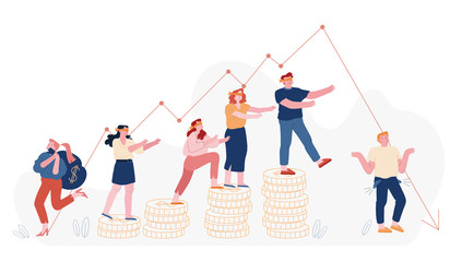 Economic Recession, Sale Drop and Finance Crisis Concept. Blindfold Business People Follow Decline Red Arrow Chart, Falling Down Graph Management Failed Achieve Profit Cartoon Flat Vector Illustration