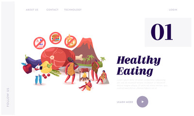Paleo Diet Healthy Eating Website Landing Page. Cave People and Doctor Nutritionist Walk near Products Fats Oils Seafood Meat Water Vegetables Fruits. Web Page Banner. Cartoon Flat Vector Illustration