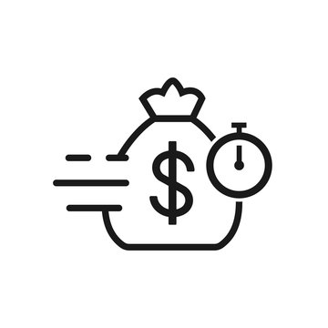 bag with dollar vector iconvector line icon. Quick and easy loan, fast money providence, business and finance services, timely payment, financial solution, vector line icon