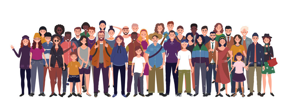 Multinational group of people isolated on white background. Children, adults and teenagers stand together. Illustration
