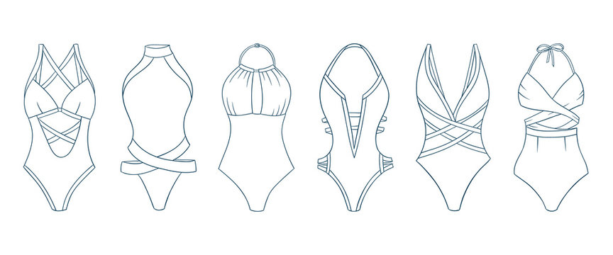 Swimming suits set. Doodle bikini. One piece swimsuits collection. Ladies clothes for summer vacation. Bikini sketch. Swimwear fashion.