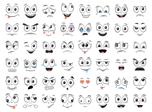 Cartoon faces set. Angry, laughing, smiling, crying, scared and other expressions. Illustration.