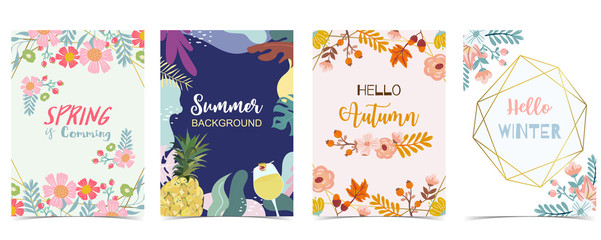 Wall Mural - Collection of winter background set for spring,summer,autumn and winter.Editable vector illustration for birthday invitation,postcard and website banner