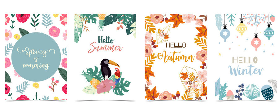 Collection of winter background set for spring,summer,autumn and winter.Editable vector illustration for birthday invitation,postcard and website banner
