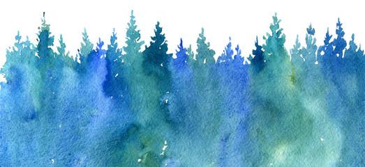 Photo sur Aluminium Bleu jean watercolor landscape with trees