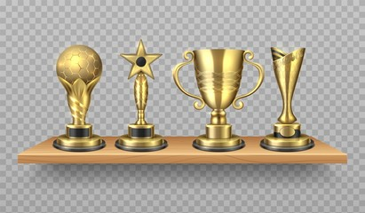 Golden trophy. Realistic bookshelf with sport victory symbols. Library wooden shelf with shiny award gold cups. Vector illustration gold cup on realistic bookshelf