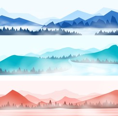 Mountains landscape. Silhouette panorama of foggy forest and snowy mountain peaks, nature outdoor panorama. Vector illustration beauty abstract silhouette wood and mountains