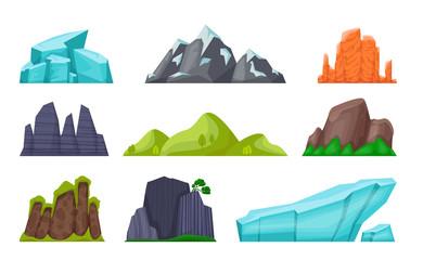 Mountain set. Cartoon rocky hills and creeks, snowy mountain peaks and glaciers, desert cliffs. Vector image nature landscape element rock terrain