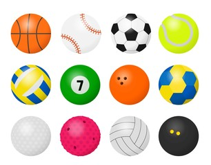 Sport balls. Cartoon equipment for playing sport games, football basketball baseball volleyball and rugby game balls. Vector illustration different equipment for game set