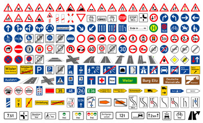 Collection of road signs in Germany. One hundred and ninety-five highly detailed and fully editable vector European road signs with details. Danger signs, obligations, warnings. Vector graphics.