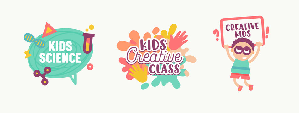 Kids Science, Creative Class Banners, Stickers or Badges Set Cute Primitive Style Characters and Elements for Logo Design with Typography Isolated on White Background Cartoon Flat Vector Illustration